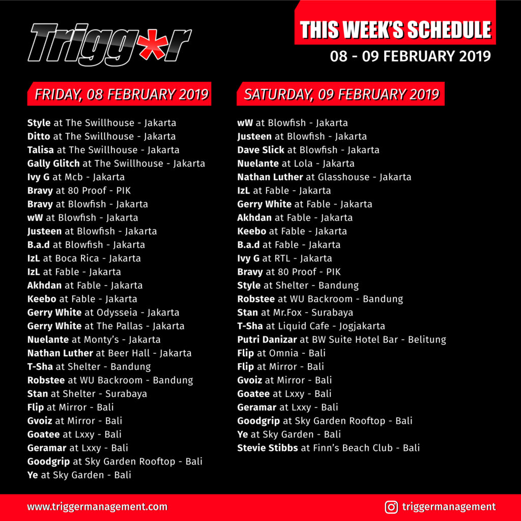 Schedule DJs & MCs 08 – 09 February 2019
