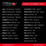 Schedule DJs & MCs 29 March 2019