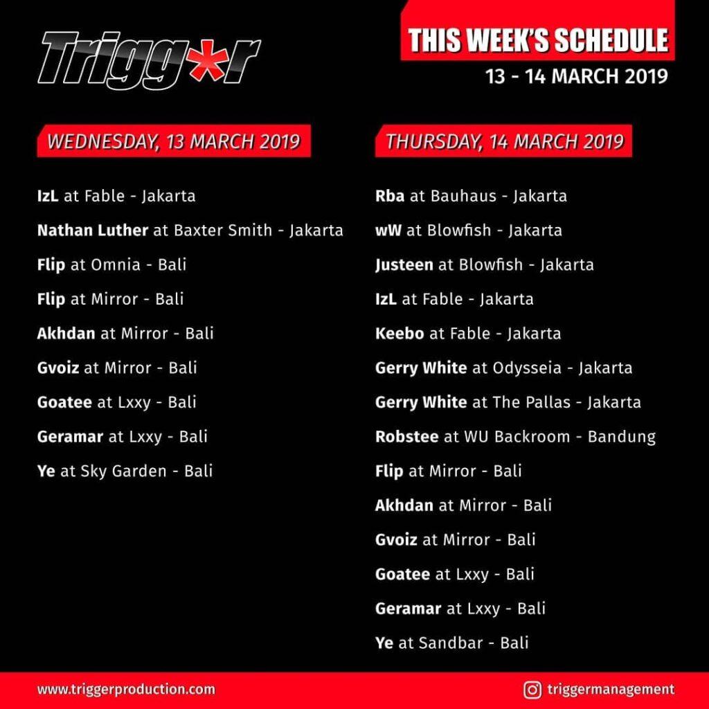 Schedule DJs & MCs 13 – 14 March 2019