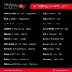 Schedule DJs & MCs 06 April 2019