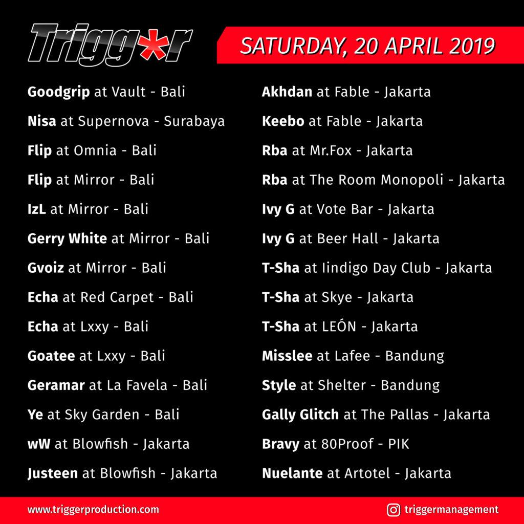 Schedule DJs & MCs 20 April 2019