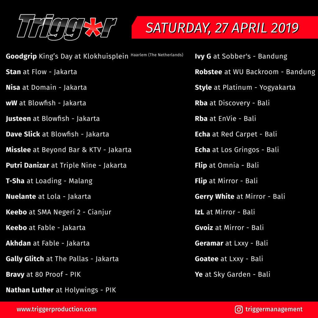 Schedule DJs & MCs 27 April 2019