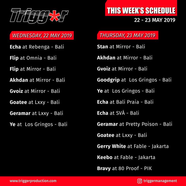 Schedule DJs & MCs 22 – 23 May 2019