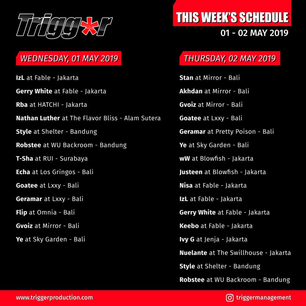 Schedule DJs & MCs 01 – 02 May 2019