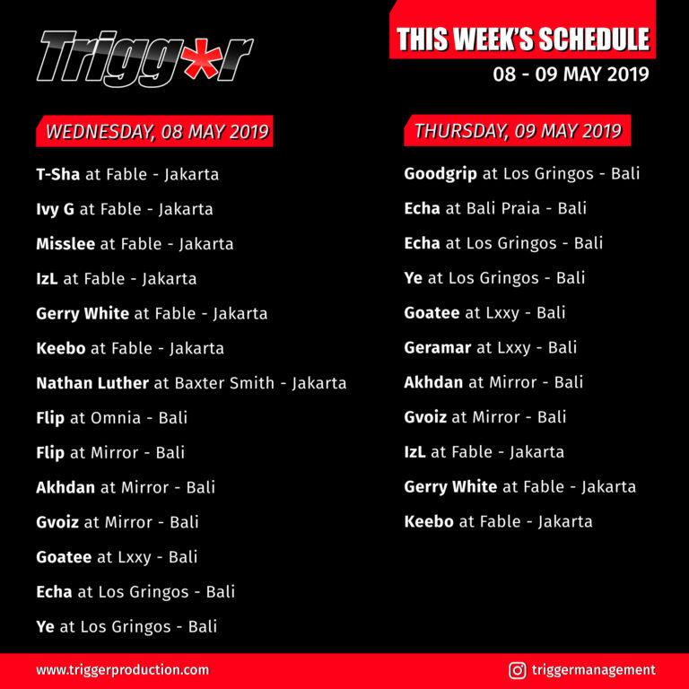Schedule DJs & MCs 08 – 09 May 2019