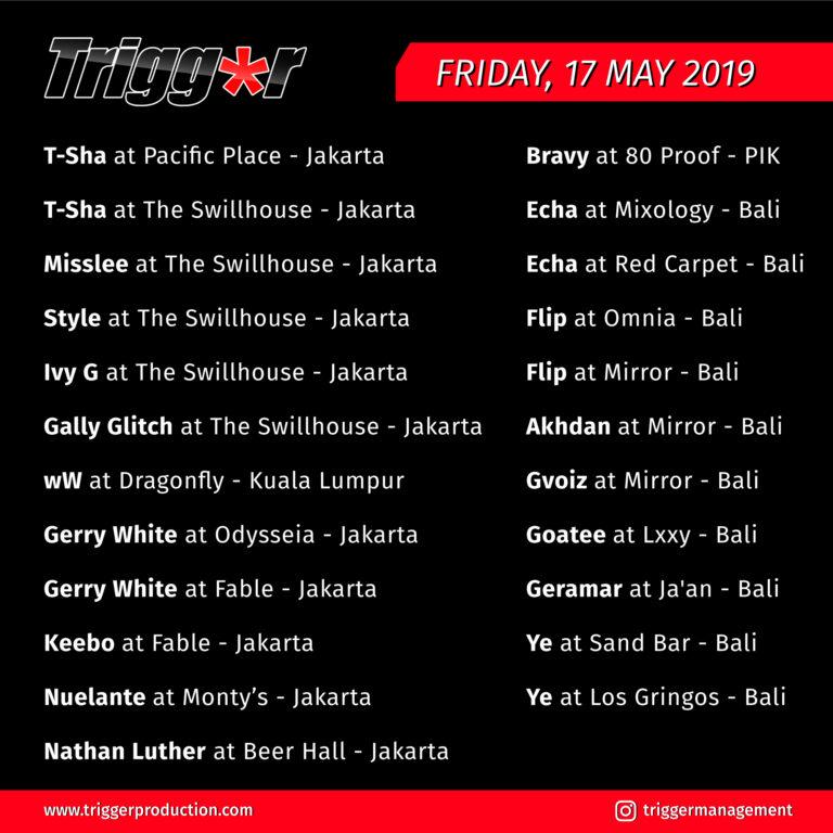 Schedule DJs & MCs 17 May 2019