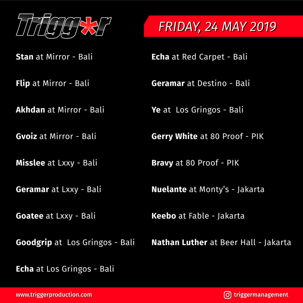 Schedule DJs & MCs 24 May 2019