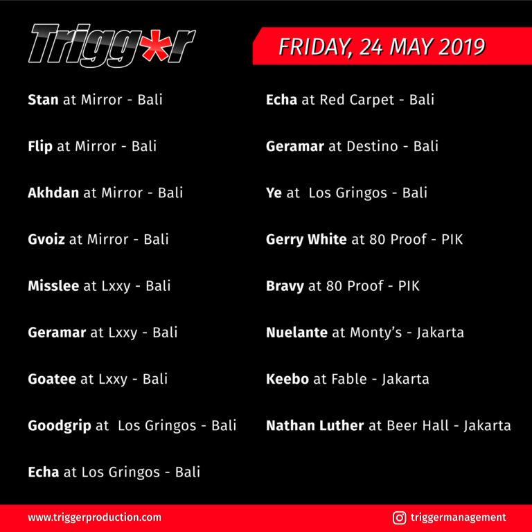 Schedule DJs & MCs 24 May 2019