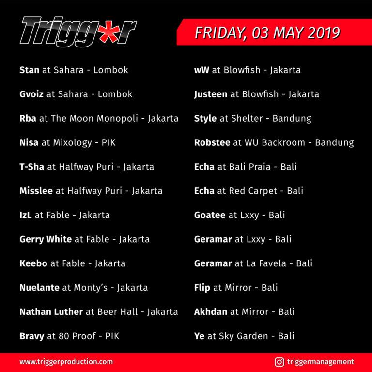 Schedule DJs & MCs 03 May 2019