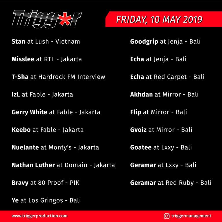 Schedule DJs & MCs 10 May 2019