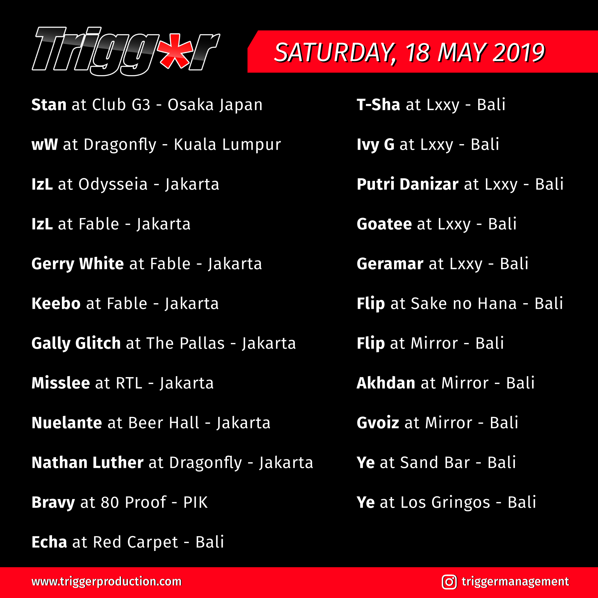 Schedule DJs & MCs 18 May 2019