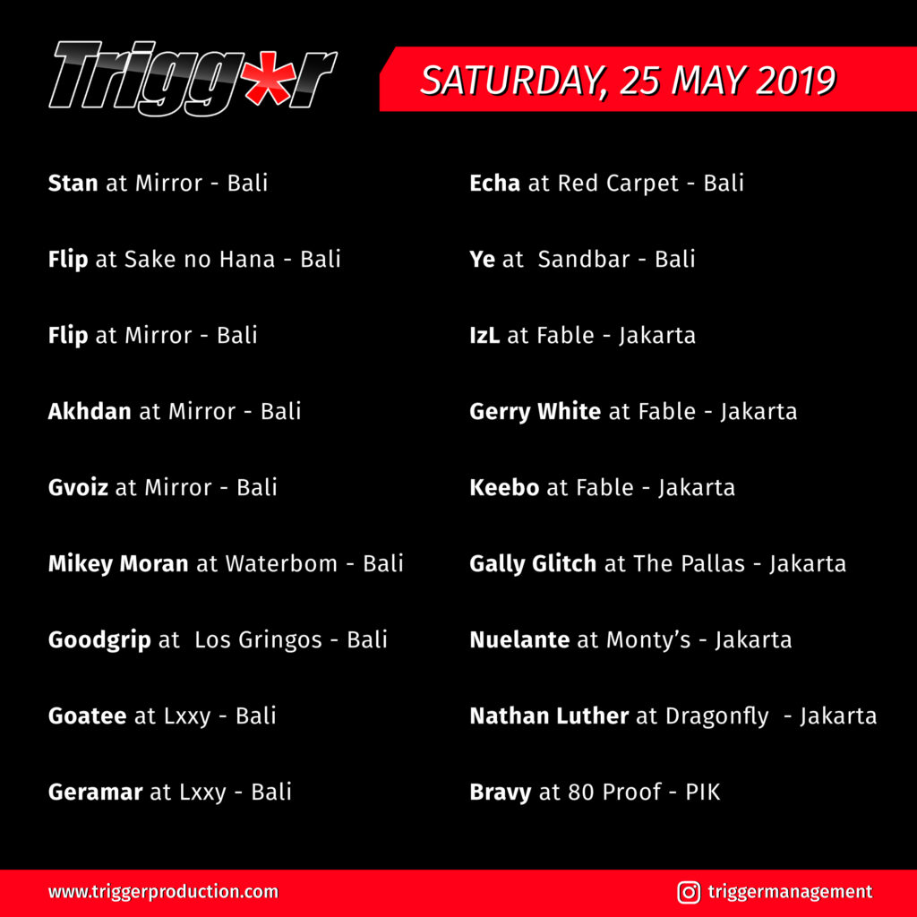 Schedule DJs & MCs 25 May 2019