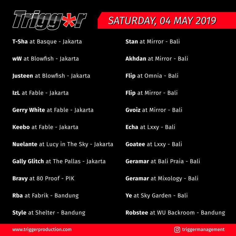 Schedule DJs & MCs 04 May 2019