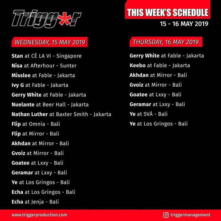 Schedule DJs & MCs 15 – 16 May 2019